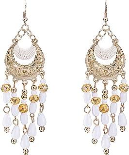 Bullidea 1 Pair Womens Girls Bohemian Tassels Earrings Retro Cute Crystal Diamond Glittering Stud Earrings Gift(White)