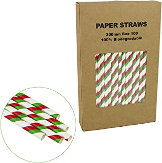 Biodegradable Paper Straws Red & Green Striped - Box of 100-7.75 inches - Bright & Vivid Colored Swizzled Paper Sticks for Christmas, Baby Shower, Carnival Celebration Table Decoration