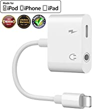 Headphone Adapter for iPhone Adapter Aux Audio to 3.5mm 2 in 1 Jack Cables Dongle for iPhone 7 Earphone Splitter Adapter for iPhone Xs/XR/X/8 Plus Music and Charging Compatible Support All iOS-White