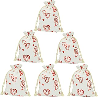 LanTian Burlap Bags, 20 Packs 4.7 x 6.9 Inch Heart Drawstring Pouch Candy Gift Linen Pockets for Jewelry Birthday Wedding Party Favors DIY Crafts Christmas Thanksgiving Halloween