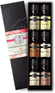 Cookies & Cakes Set of 6 Premium Grade Fragrance Oils - Chocolate Chip Cookie, Sugar Cookies, Cupcake, Brownie, Snickerdoodle, Coffee Cake