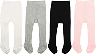 Zando Baby Tights Soft Seamless Cable Knit Infant Tights for Baby Girls Leggings Stockings Toddler Warm Socks Newborn Winter Clothes 4 Pack - Colorful Mixed Medium/6-12 Month
