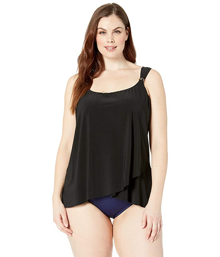 Miraclesuit Plus Size Solid Dazzle Tankini Top (Black) Women