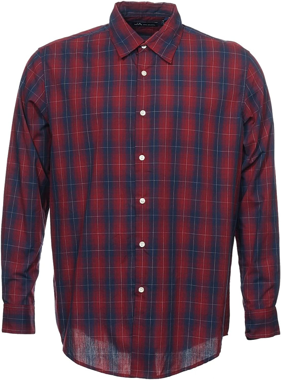 John Ashford Men's Red Plaid Button Down Shirt