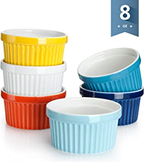 Sweese 501.002 Porcelain Souffle Dishes, Ramekins - 8 Ounce for Souffle, Creme Brulee and Ice Cream - Set of 6, Hot Assorted Colors