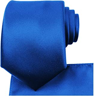 KissTies Solid Tie Set Satin Wedding Ties + Pocket Square + Gift Box