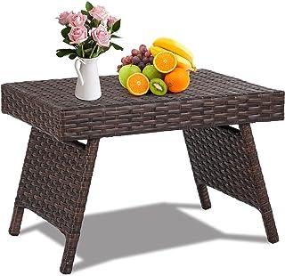GOPLUS Table Basse en Rotin Tressé Pliable avec Cadre en Métal,Table d'appoint à Café Élégante,Idéal pour Salon,Jardin,Ter...