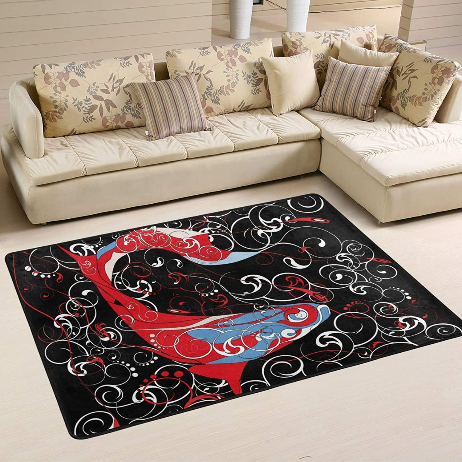 Area Rugs Doormats Koi Abstract Red Line Fish Soft Carpet Mat 6'x4' (72x48 Inches) for Living Dining Dorm Room Bedroom Home Decorative