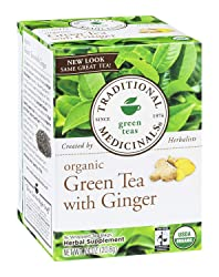 Traditional Medicinals Organic Fair Trade Cert. Green Tea W/ Ginger Herbal Wrapped Tea Bags, 16 ct