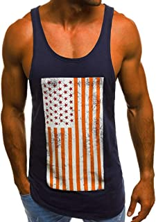 chuxin huang Men Casual 3D Printed Pattern Tank Top Sleeveless Graphics Tees for Independence Day