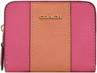 Coach Mini Zip Around Card Case in Crossgrain Leather Pink Ruby F68623