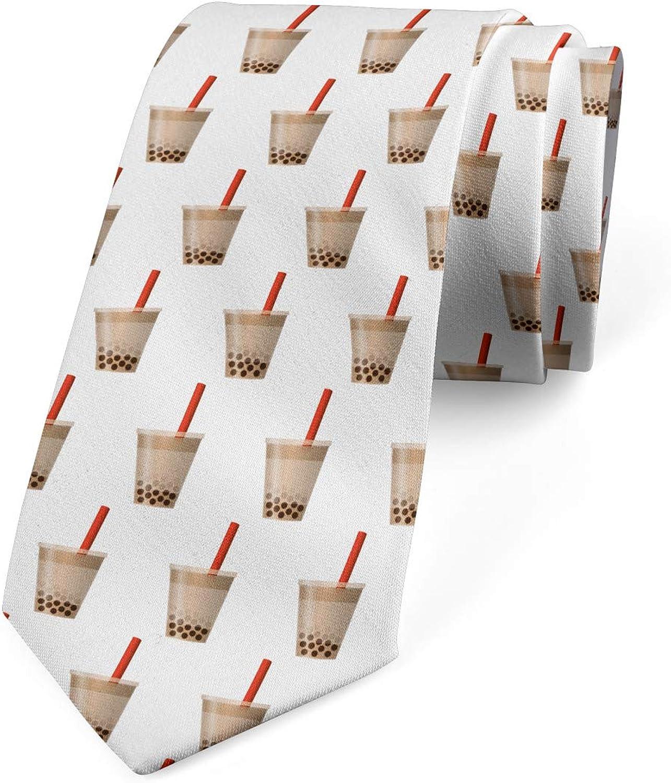 Lunarable Men's Tie, Bubbly Tea Coffee in Cups, Necktie, 3.7