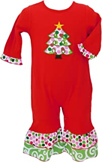 Boutique Baby Girls Romper Red Polka Dot Christmas Tree Infant Holiday Onesie Toddler Clothing Jumpsuit