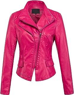 Women's Stylish Oblique Zip Slim Faux Leather Biker Outerwear Jacket