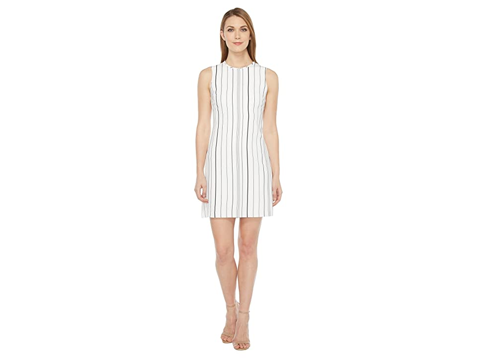 Calvin Klein Sleeveless Stripe Trapeze Dress CD7EYC2R (White/Black) Women