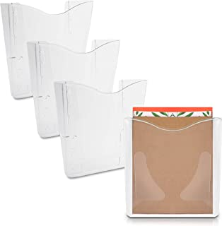 Clear Plastic Hanging Wall File Organizer, A6 Size (5.35 x 7.25 x 2.7 in, 4 Pack)