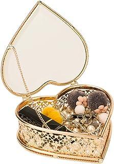 Looife Heart Shape Jewelry Box, Handmade Gold and Glass Cosmetics Organizer for Girl's Keepsake