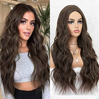 K'ryssma Long Brown Wig Natural Looking Wavy Brown Synthetic Wig for Women 22 inches