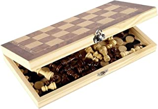 JHWSX Portable 3 In-1 Chess Game Chess Lady and Backgammon Wood Chess Game with Foldable Chessboard Multifunctional Chess ...
