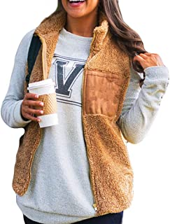 Women's Sleeveless Zip Up Fuzzy Fleece Lightweight Fall Warm Zipper Vest Casual Sherpa Oversized Outwear Waistcoat