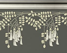 Wall Border Stencil - Art Nouveau Hanging Flowers - Repeating border stencil - Reusable DIY Decor - use with any paint colors!