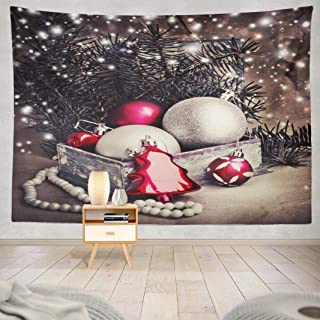 Darkchocl Decoration Tapestry, Decorative Tapestry Vintage Christmas with Decoration Ball for Room Wall Hanging Tapestry 60 L x 80 W Vintage Christmas 04