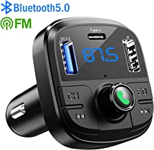 Bluetooth FM Transmitter for Car, Clydek V5.0 Car Bluetooth Adapter Wireless Bluetooth FM Radio Adapter with 5 EQ Mode, 3 USB PortsSupport USB Disk, TF Card Hands-Free Calls
