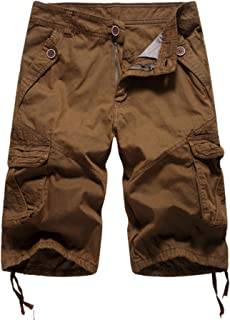 Elonglin Men's Cropped Cargo Summer Combat Shorts Casual Work Belt Not Included