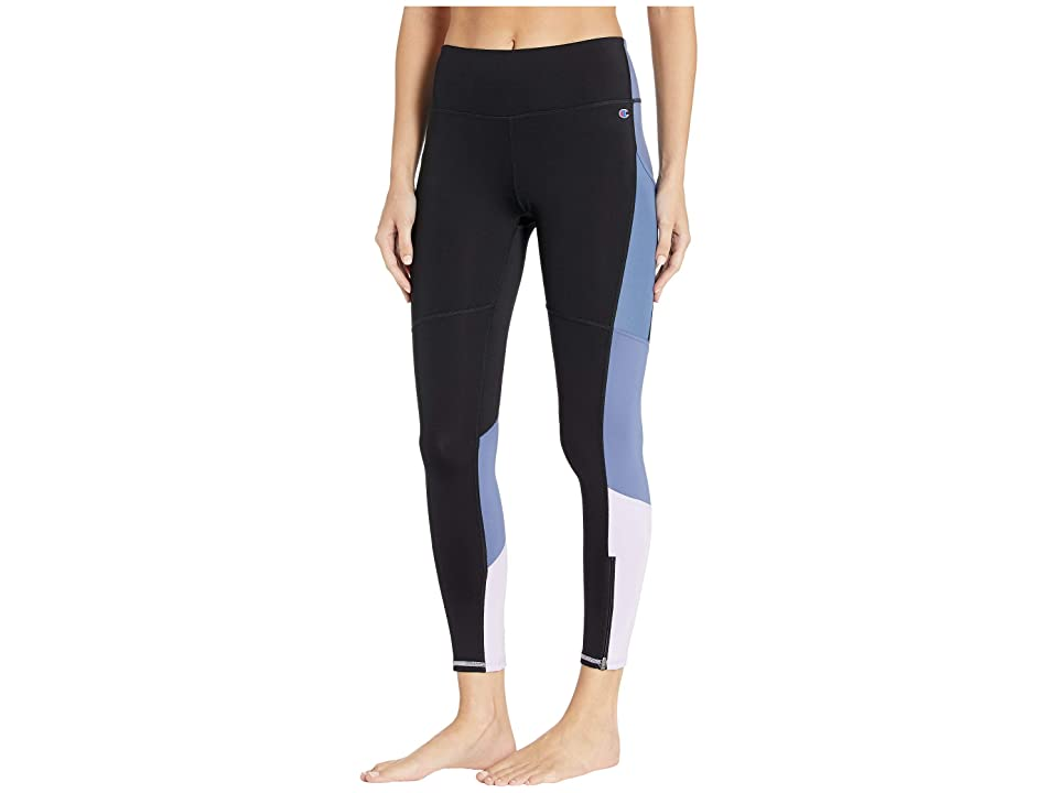 Champion Fashion Tights 7/8 Novelty Blocking (Black/Seven Seas Blue) Women