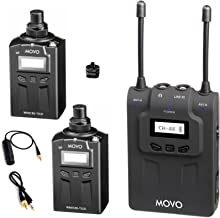 Movo WMIC80 UHF Wireless XLR Microphone System with 2 Plug-in XLR Transmitters, Portable Receiver, Shoe Mount for DSLR Cameras (330' Range)
