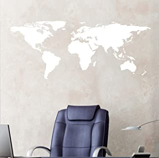 Stickerbrand White World Map Wall Decal Sticker Home Decor Vinyl Wall Art. Large (21in X 51in) Die-Cut Size. Removable.