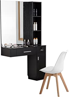 BarberPub Wall Mount Hair Styling with Mirror Barber Station Dressing Table Beauty Salon Spa Equipment Set 3026/3036 (right shelf, Black)