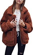 Gzbinz Women's Casual Warm Faux Shearling Coat Jacket Autumn Winter Long Sleeve Lapel Fluffy Fur Outwear