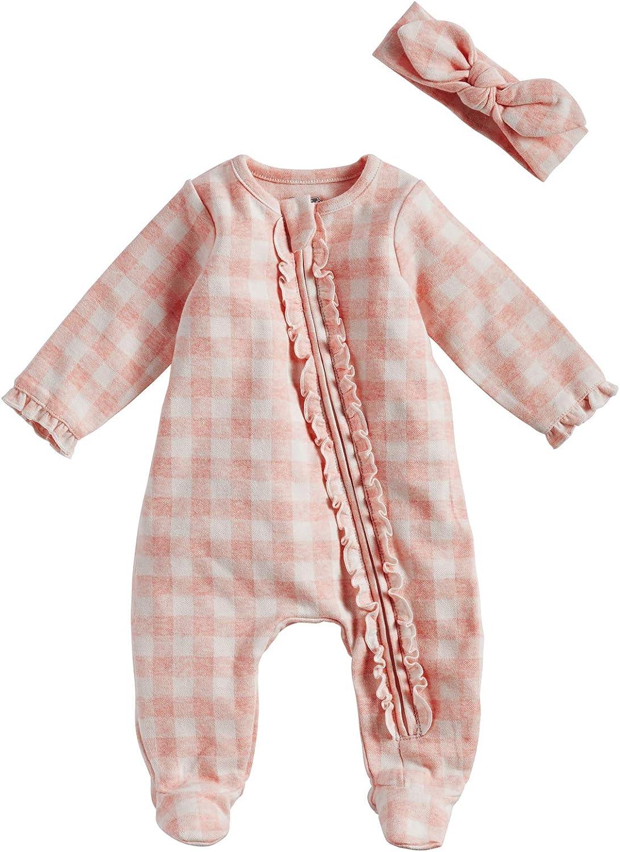 Mud Pie Baby Girls' Pink Gingham Sleeper and Headband