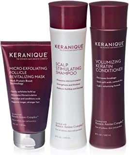 Keranique Hair Volumizing Shampoo, Conditioner with Follicle Exfoliating Treatment Mask 60 Days For Thinning Hair, Paraben...