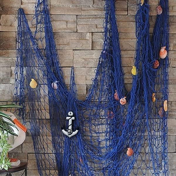 Aminiture 航海渔网装饰墙贴海滩派对贝壳家居田园装饰海盗生日派对蓝锚 59X79