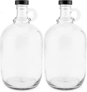 64-Ounce/Half Gallon Clear Glass Kombucha Growler Jugs w/Polycone Phenolic Lids (2-Pack); Great for Home Brew, Distilled Water, Cider & More