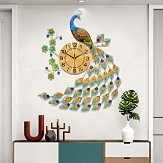 Large Peacock Wall Clock Metal Design Non-Ticking Silent Art Digital Wall Clocks for Living Room Decor