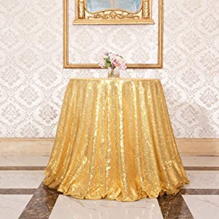 """Juya Delight 72"""" New Gold Round Sequin Tablecloth for Party Dinner Banquet Festival Wedding Anniversary Exhibition Dessert Table"""