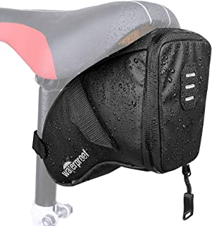 WOTOW Bike Saddle Bag, Waterproof Bicycle Wedge Pack Strap-on Storage Pouch with Water Resistant Zipper & Rear Light Loop PU Coating Cycling Repair Tool Pack for MTB Road Mountain Bike Riding(1.5L)