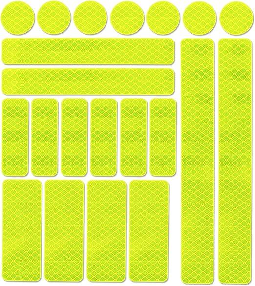JCstarrie Reflector Stickers -21 Pcs Cintas Adhesivas Reflectantes Tiras Calcomanías Visibilidad Nocturna y Seguridad para Cascos Bicicleta, Coche, Moto, Cochecitos (Amarillo): Amazon.es: Deportes y aire libre