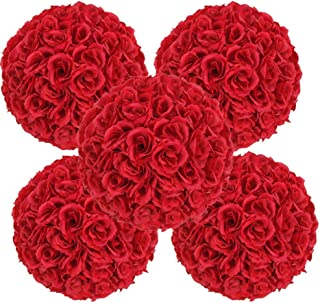 Ben Collection Set of 5 Pack, 9.84inch Artificial Rose Satin Flower Ball for Home Wall Wedding Party Ceremony Decoration, Red