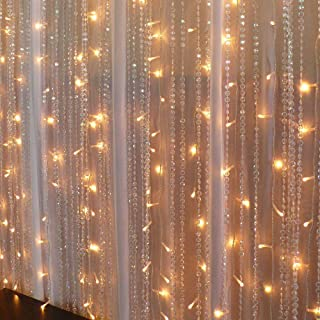Vmanoo Curtain Lights, 300 LED Window Icicle Fairy String Lights UL listed with Tail Plug for Home, Outdoor, Indoor, Wedding, Xmas Party Decorations, Warm White