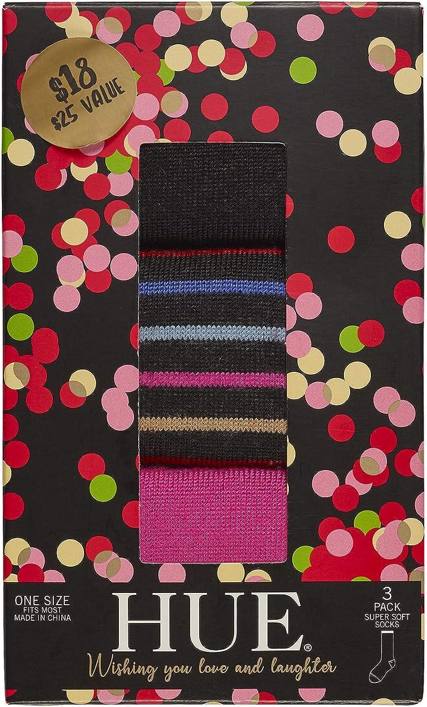 HUE womens Softy Sock 3 Pair Pack Giftbox