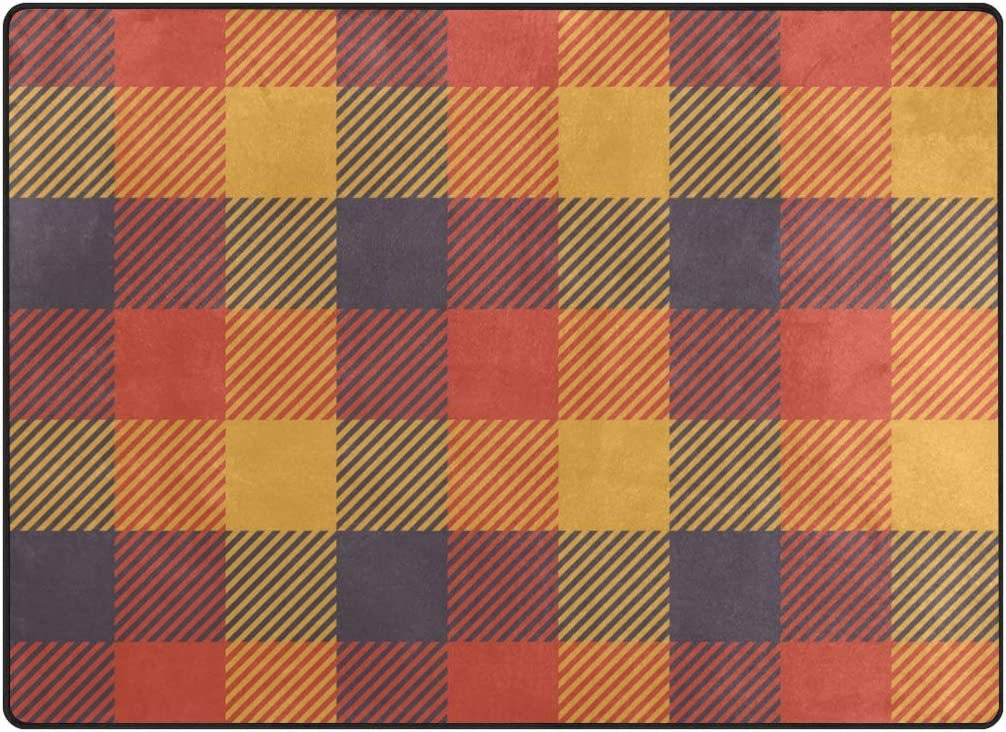 Littleluck Geometric Grid Plaid Stripe Orange Yellow Red Purple Area Rug Rugs Decorative Polyester Floor Mat With Non Skid Backing 80x58 Inch Garden Outdoor