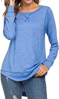 Womens Long Sleeve Casual T-Shirts Tunic Blouse Loose Curved Hem Tops