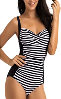 Women Swimsuit 1 Piece Mesh Ruched Tummy Control Swimwear Push Up High Waisted Swimming Costume