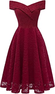 Women Bardot Wrap Front Floral Lace Midi Party Cocktail Prom Dress - coolthings.us