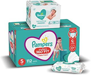 Sponsored Ad - Pampers Pull On Diapers Size 5 and Baby Wipes - Cruisers 360° Fit Disposable Baby Diapers with Stretchy Wai...