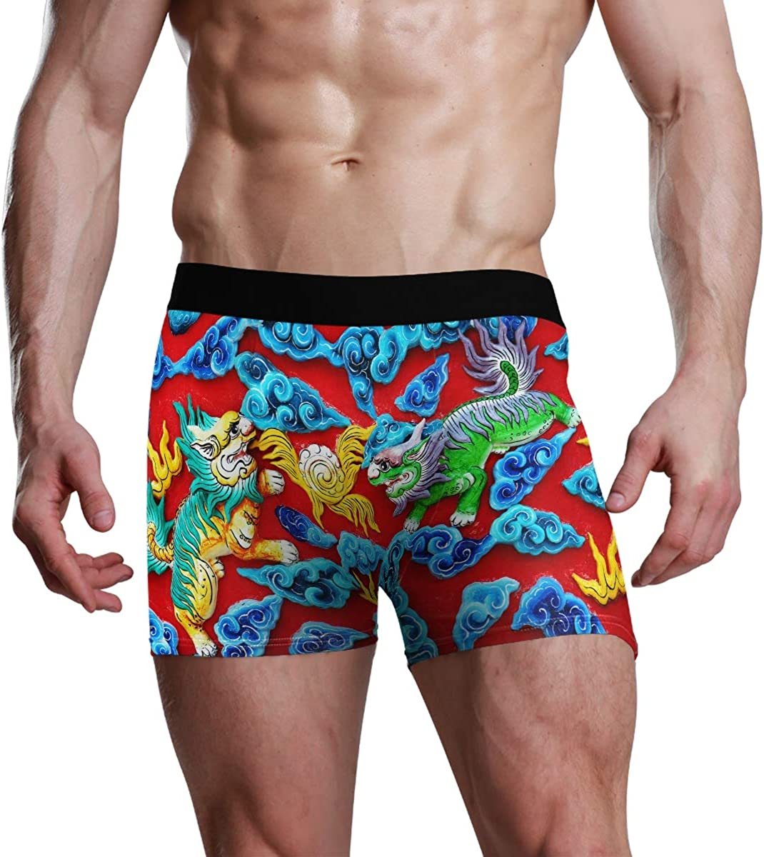 Men's Underwear Beautiful Chinese Lucky Wall Decoration Breathable Boxer Briefs Low Rise Long Leg